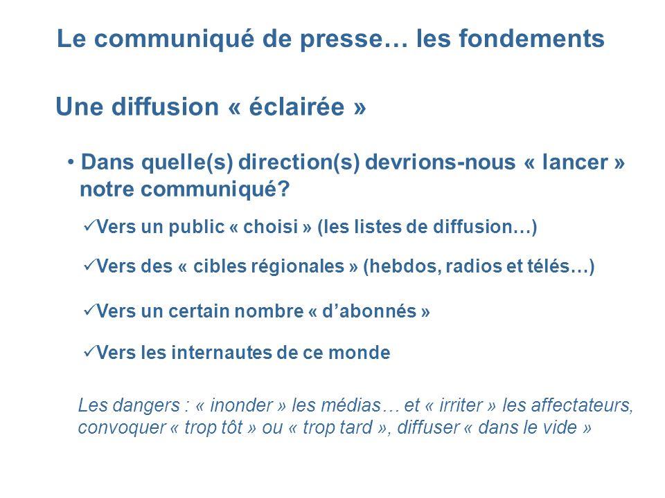 Le communiqué de presse… les fondements Une diffusion « éclairée » Dans quelle(s) direction(s) devrions-nous « lancer » notre communiqué? Vers un publ