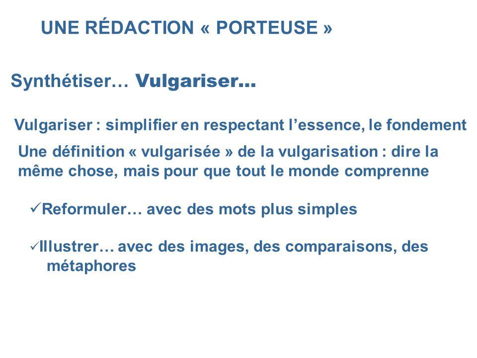 UNE RÉDACTION « PORTEUSE » Synthétiser… Vulgariser… Vulgariser : simplifier en respectant lessence, le fondement Une définition « vulgarisée » de la v