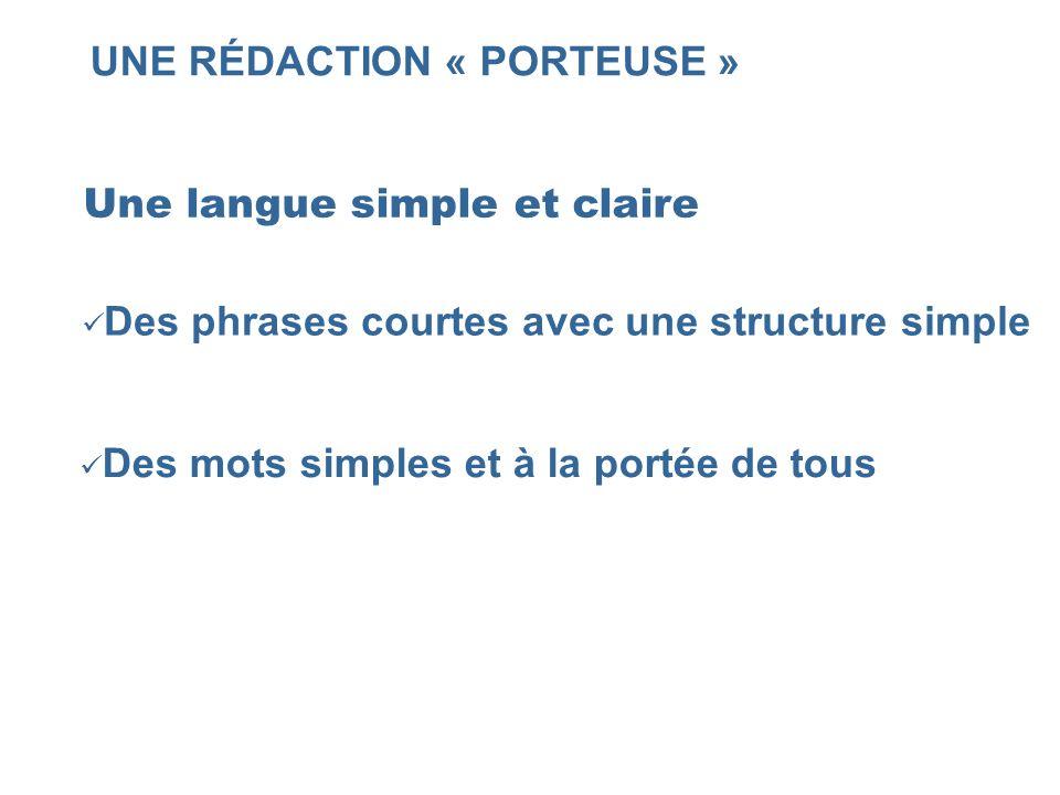 UNE RÉDACTION « PORTEUSE » Une langue simple et claire Des phrases courtes avec une structure simple Des mots simples et à la portée de tous