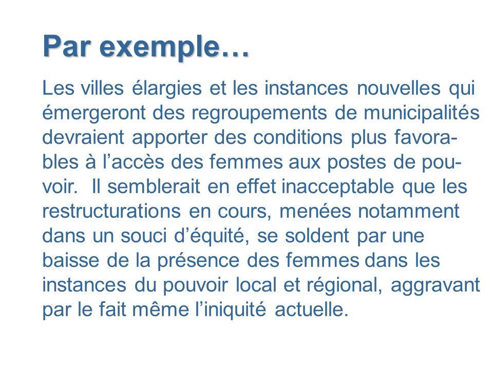Par exemple… Les villes élargies et les instances nouvelles qui émergeront des regroupements de municipalités devraient apporter des conditions plus f