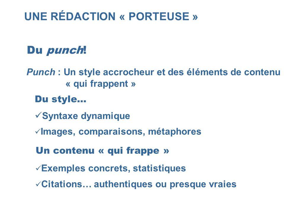 UNE RÉDACTION « PORTEUSE » Du punch! Punch : Un style accrocheur et des éléments de contenu « qui frappent » Syntaxe dynamique Images, comparaisons, m