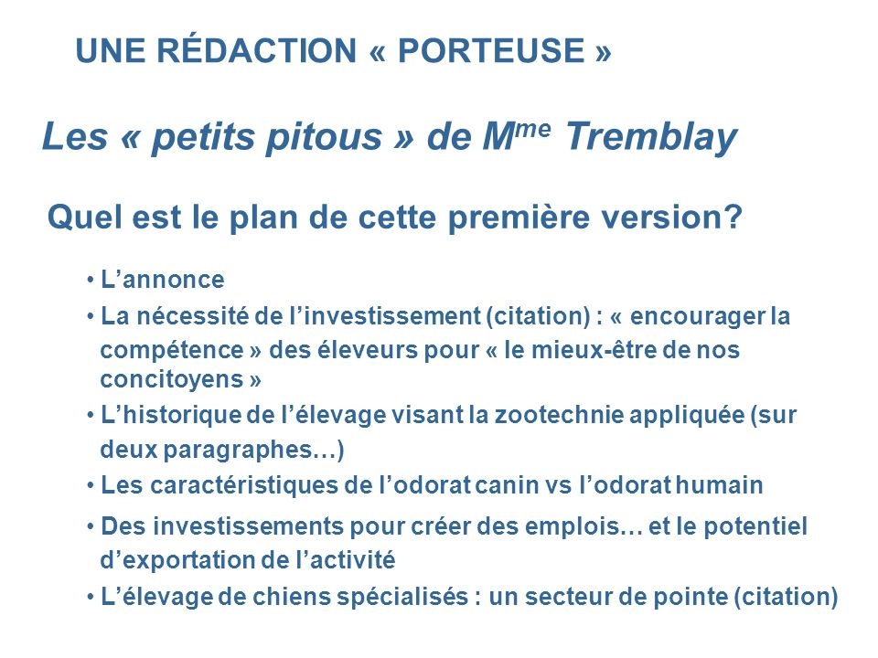 UNE RÉDACTION « PORTEUSE » Les « petits pitous » de M me Tremblay Quel est le plan de cette première version? Lannonce La nécessité de linvestissement