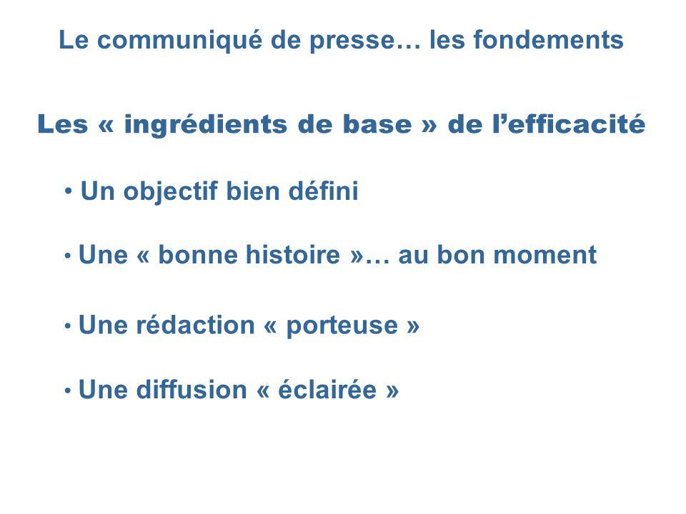 Le communiqué de presse… les fondements Les « ingrédients de base » de lefficacité Une « bonne histoire »… au bon moment Une rédaction « porteuse » Un