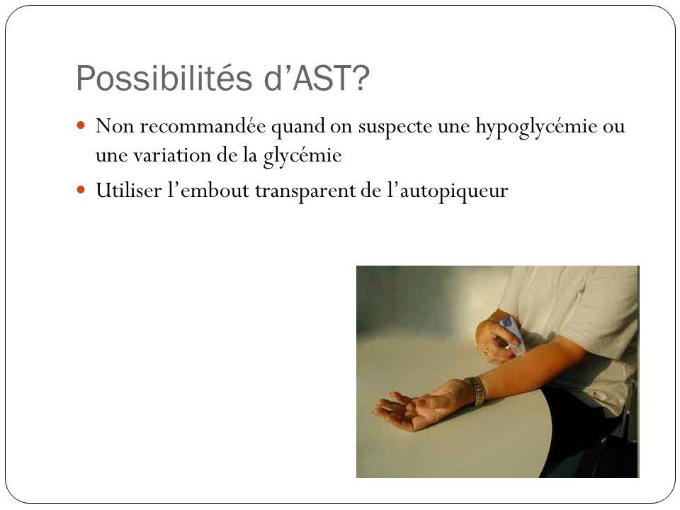 Possibilités dAST? Non recommandée quand on suspecte une hypoglycémie ou une variation de la glycémie Utiliser lembout transparent de lautopiqueur