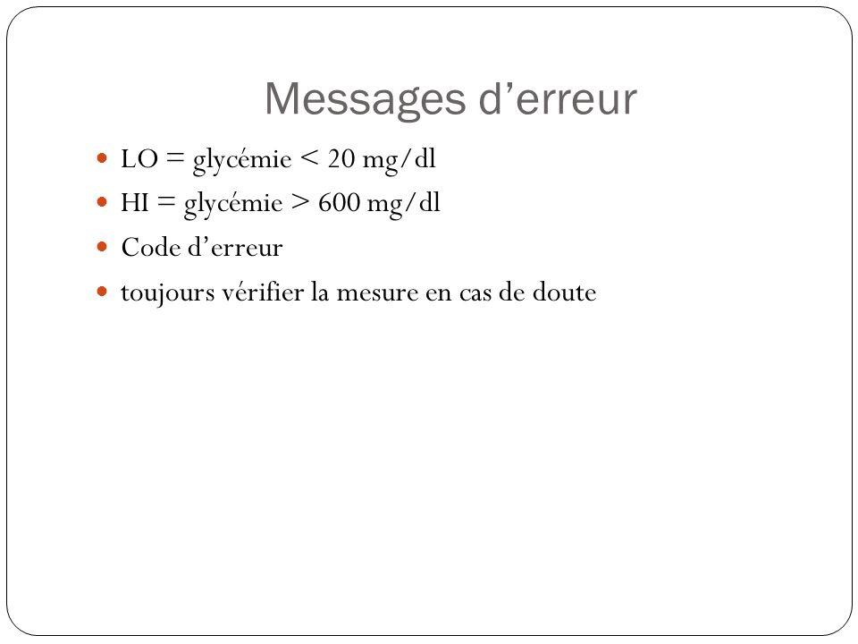 Messages derreur LO = glycémie < 20 mg/dl HI = glycémie > 600 mg/dl Code derreur toujours vérifier la mesure en cas de doute