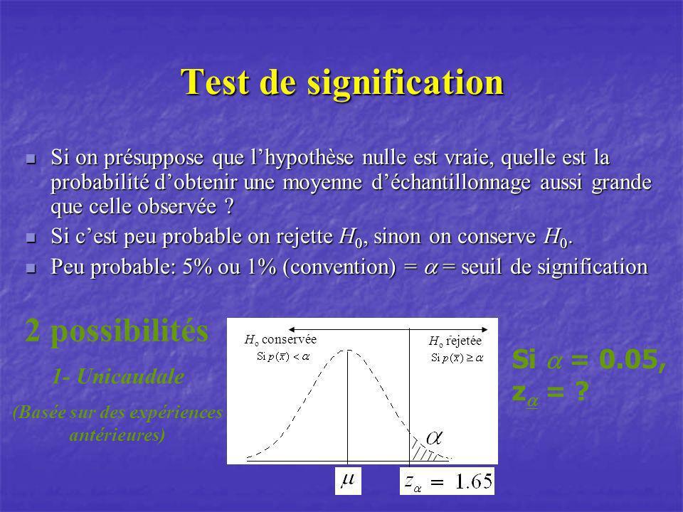 Test de signification Si on présuppose que lhypothèse nulle est vraie, quelle est la probabilité dobtenir une moyenne déchantillonnage aussi grande qu