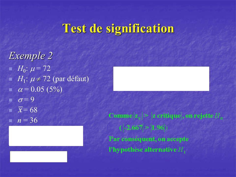 Test de signification Exemple 2 H 0 : = 72 H 1 : 72 (par défaut) = 0.05 (5%) = 9 = 68 n = 36