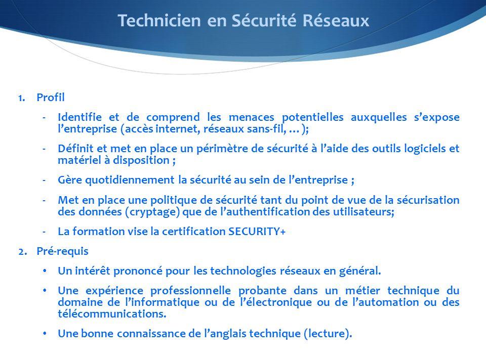 1.Profil -Identifie et de comprend les menaces potentielles auxquelles sexpose lentreprise (accès internet, réseaux sans-fil, …); -Définit et met en place un périmètre de sécurité à laide des outils logiciels et matériel à disposition ; -Gère quotidiennement la sécurité au sein de lentreprise ; -Met en place une politique de sécurité tant du point de vue de la sécurisation des données (cryptage) que de lauthentification des utilisateurs; -La formation vise la certification SECURITY+ 2.Pré-requis Un intérêt prononcé pour les technologies réseaux en général.