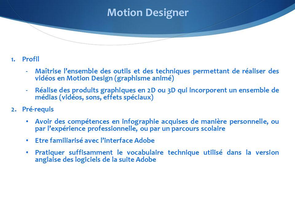 1.Profil -Maîtrise lensemble des outils et des techniques permettant de réaliser des vidéos en Motion Design (graphisme animé) -Réalise des produits graphiques en 2D ou 3D qui incorporent un ensemble de médias (vidéos, sons, effets spéciaux) 2.Pré-requis Avoir des compétences en infographie acquises de manière personnelle, ou par lexpérience professionnelle, ou par un parcours scolaire Etre familiarisé avec linterface Adobe Pratiquer suffisamment le vocabulaire technique utilisé dans la version anglaise des logiciels de la suite Adobe Motion Designer