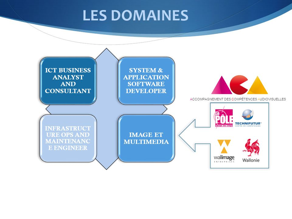 LES DOMAINES ICT BUSINESS ANALYST AND CONSULTANT SYSTEM & APPLICATION SOFTWARE DEVELOPER INFRASTRUCT URE OPS AND MAINTENANC E ENGINEER IMAGE ET MULTIMEDIA ACCOMPAGNEMENT DES COMPÉTENCES AUDIOVISUELLES