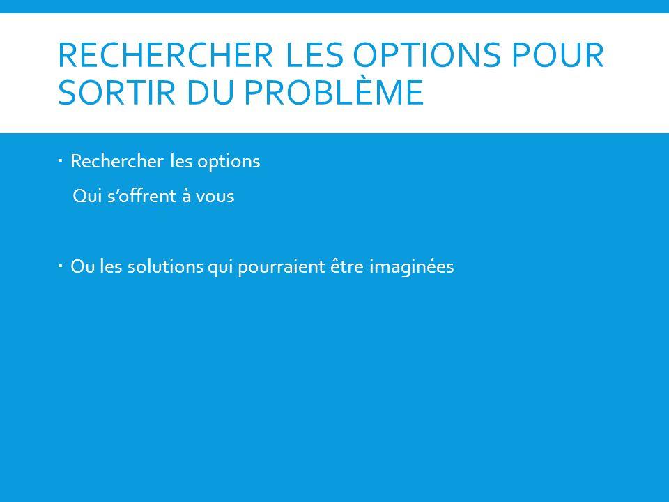 RECHERCHER LES OPTIONS POUR SORTIR DU PROBLÈME Rechercher les options Qui soffrent à vous Ou les solutions qui pourraient être imaginées