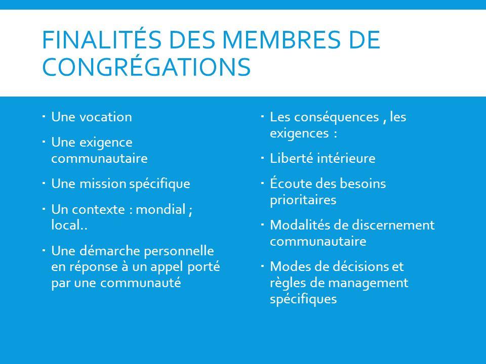 FINALITÉS DES MEMBRES DE CONGRÉGATIONS Une vocation Une exigence communautaire Une mission spécifique Un contexte : mondial ; local.. Une démarche per