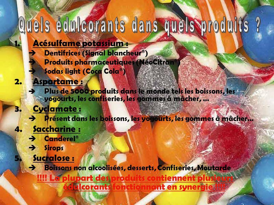 1.Acésulfame potassium : Dentifrices (Signal blancheur ® ) Produits pharmaceutiques (NéoCitran ® ) Sodas light (Coca Cola ® ) 2.Aspartame : Plus de 50