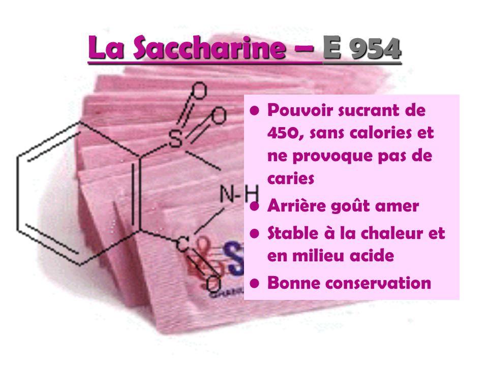 1.Acésulfame potassium : Dentifrices (Signal blancheur ® ) Produits pharmaceutiques (NéoCitran ® ) Sodas light (Coca Cola ® ) 2.Aspartame : Plus de 5000 produits dans le monde tels les boissons, les yogourts, les confiseries, les gommes à mâcher, … 3.Cyclamate : Présent dans les boissons, les yogourts, les gommes à mâcher… 4.Saccharine : Canderel ® Sirops 5.Sucralose : Boissons non alcoolisées, desserts, Confiseries, Moutarde !!!.