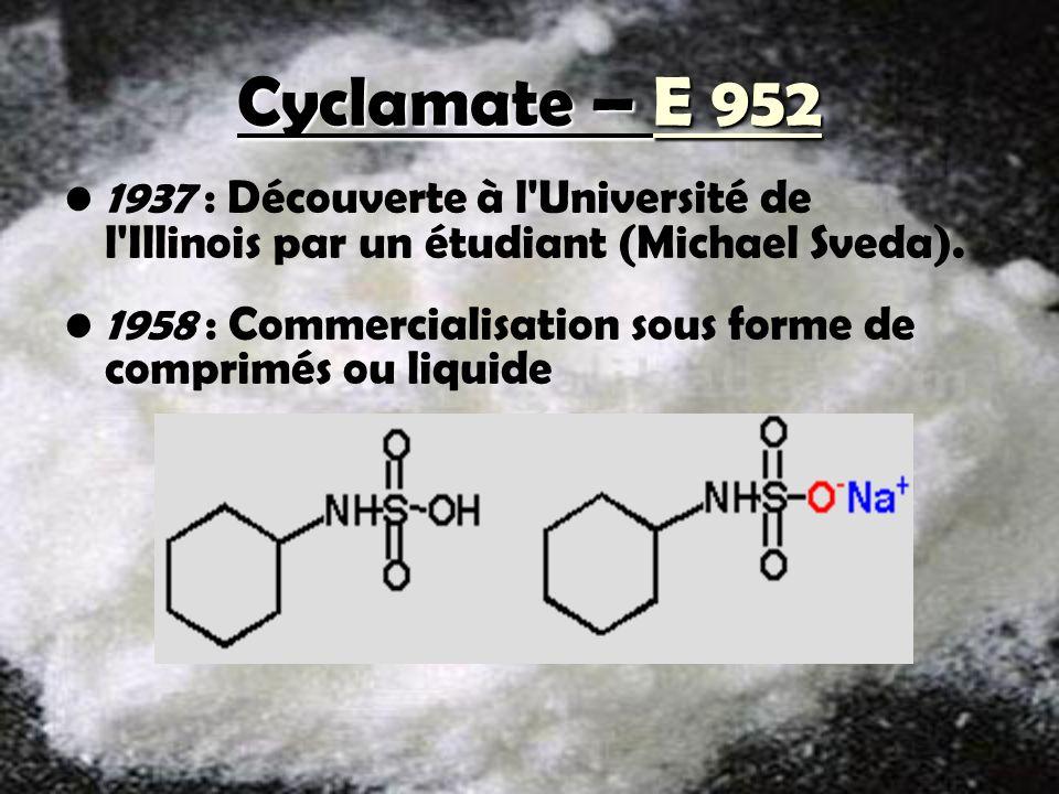 Cyclamate – E 952 Pouvoir sucrant 35, sans calories et ne provoque pas de caries Arrière goût désagréable, donc souvent mélangé aux autres édulcorants Stable à la chaleur et se conserve bien