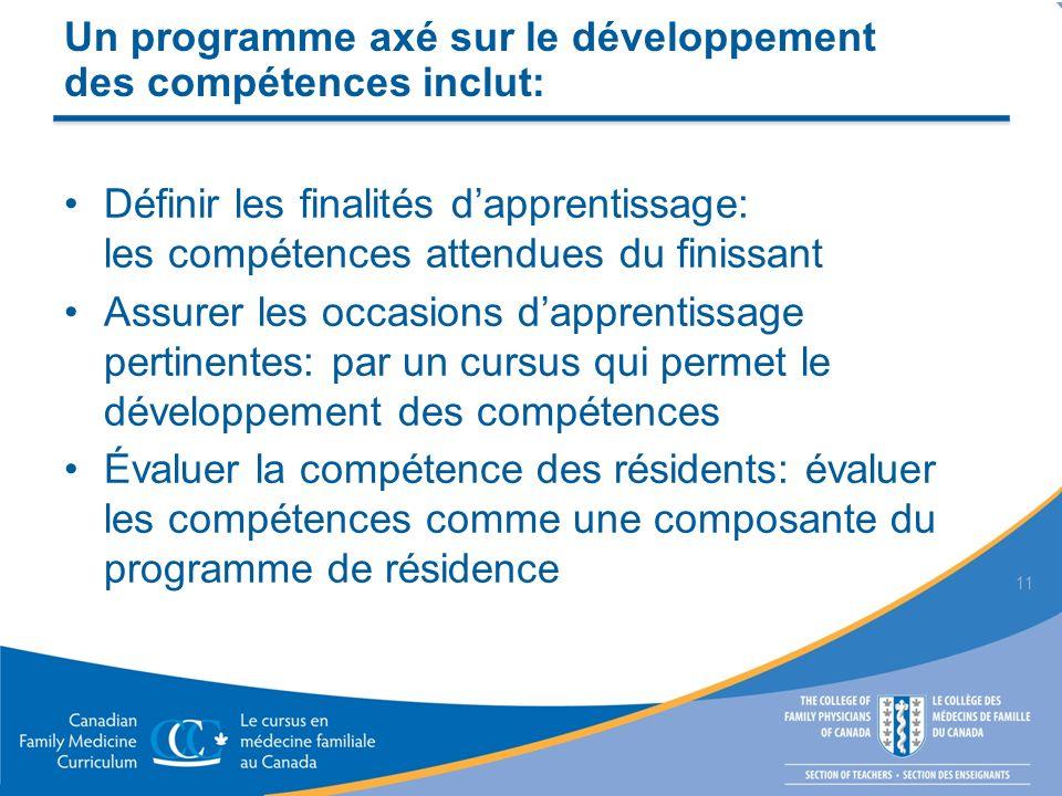 Un programme axé sur le développement des compétences inclut: Définir les finalités dapprentissage: les compétences attendues du finissant Assurer les