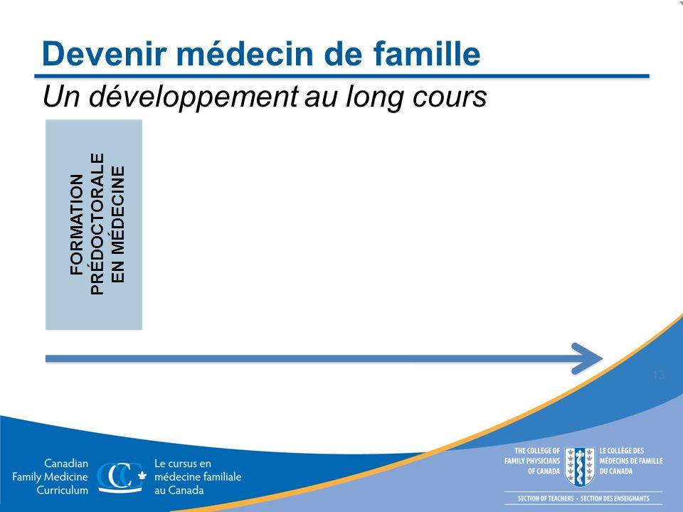 Devenir médecin de famille 13 FORMATION PRÉDOCTORALE EN MÉDECINE Un développement au long cours