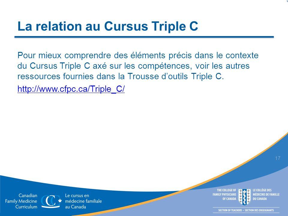 La relation au Cursus Triple C Pour mieux comprendre des éléments précis dans le contexte du Cursus Triple C axé sur les compétences, voir les autres ressources fournies dans la Trousse doutils Triple C.
