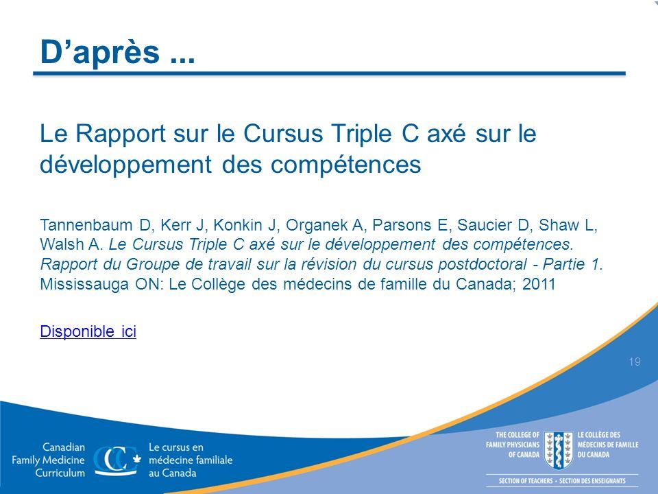 Daprès... Le Rapport sur le Cursus Triple C axé sur le développement des compétences Tannenbaum D, Kerr J, Konkin J, Organek A, Parsons E, Saucier D,