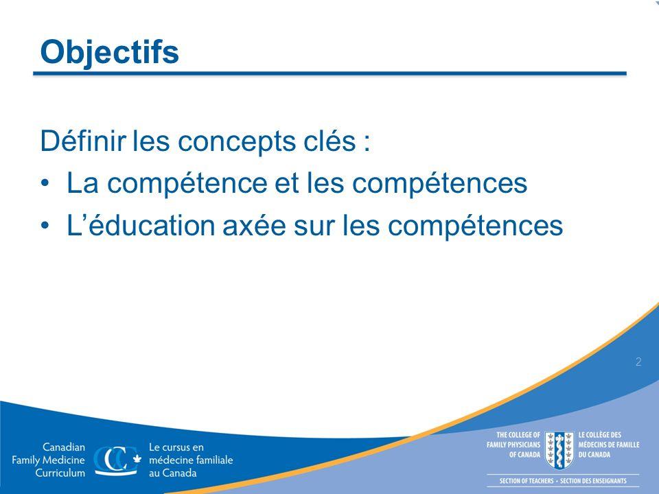 Objectifs Définir les concepts clés : La compétence et les compétences Léducation axée sur les compétences 2