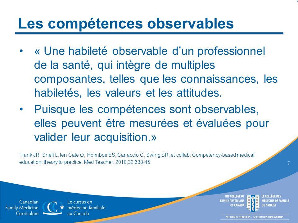 Les compétences observables « Une habileté observable dun professionnel de la santé, qui intègre de multiples composantes, telles que les connaissance