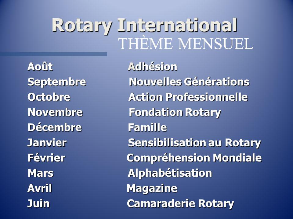 Rotary International Août Adhésion Septembre Nouvelles Générations Octobre Action Professionnelle Novembre Fondation Rotary Décembre Famille Janvier S