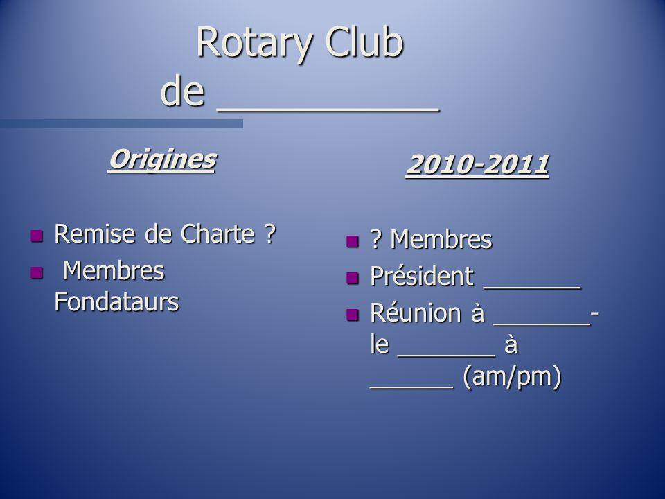 Rotary Club de __________ Origines n Remise de Charte ? n Membres Fondataurs 2010-2011 n ? Membres n Président _______ Réunion à _______- le _______ à
