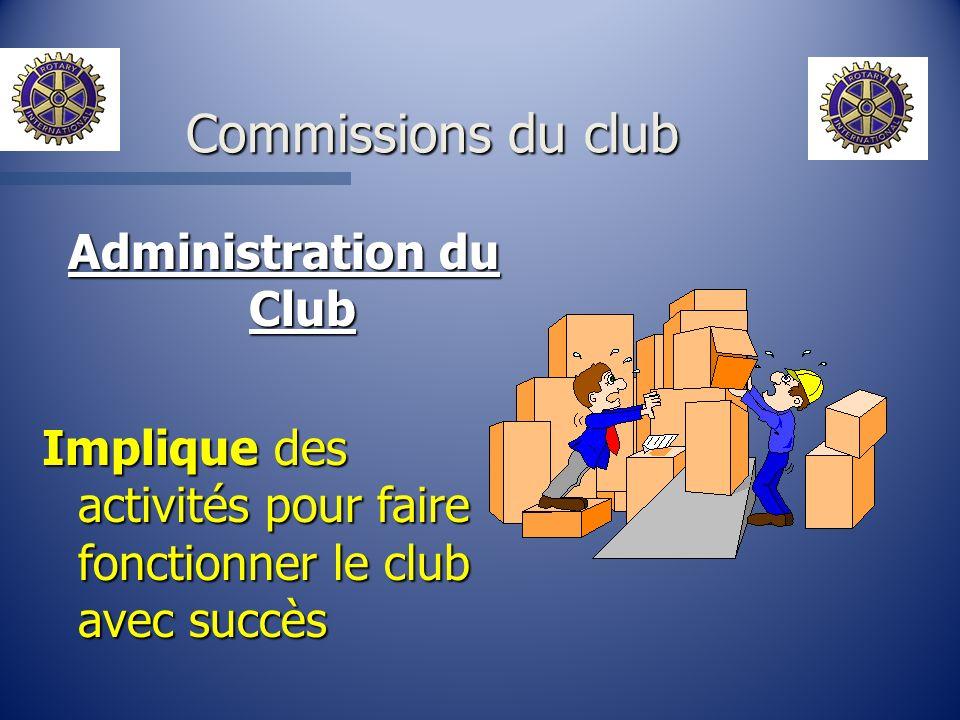 Administration du Club Implique des activités pour faire fonctionner le club avec succès Commissions du club