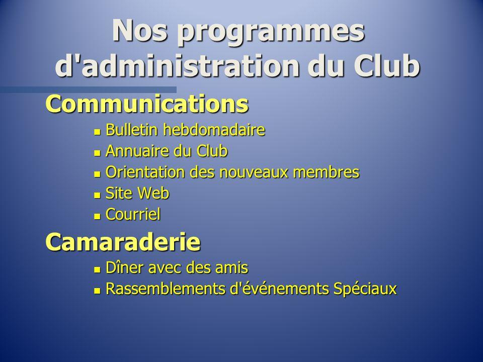 Nos programmes d'administration du Club Communications n Bulletin hebdomadaire n Annuaire du Club n Orientation des nouveaux membres n Site Web n Cour
