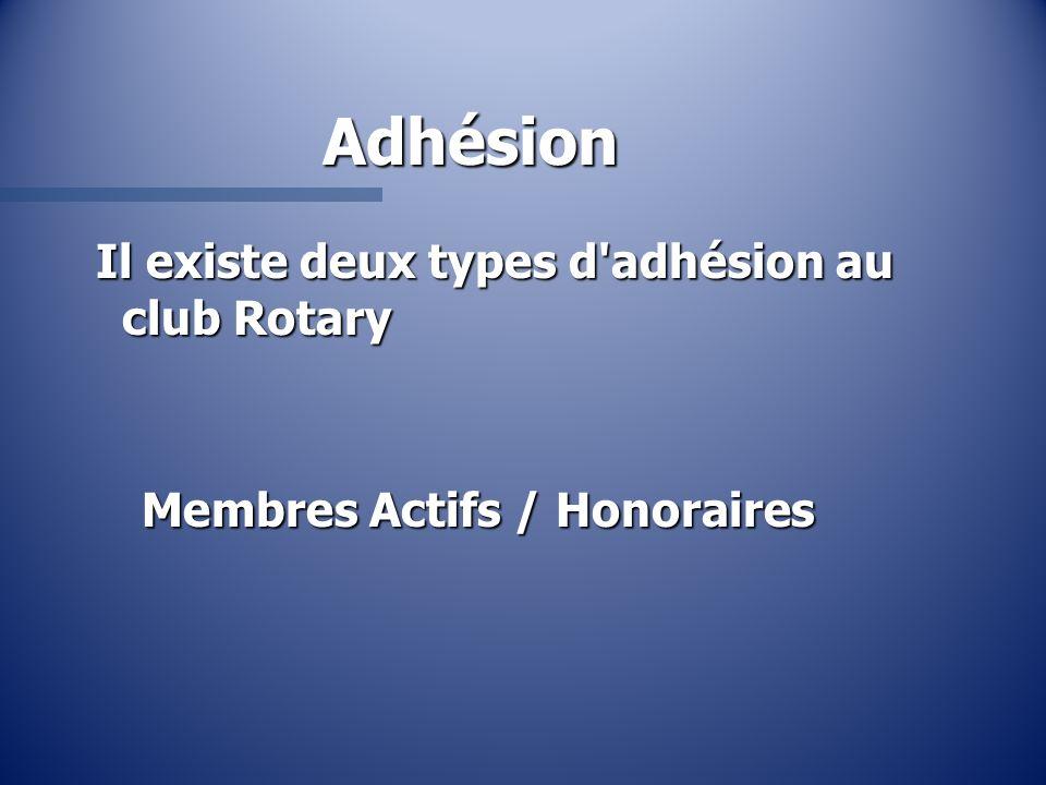 Adhésion Il existe deux types d'adhésion au club Rotary Membres Actifs / Honoraires
