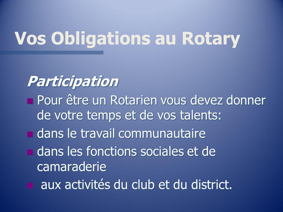 Vos Obligations au Rotary Participation n Pour être un Rotarien vous devez donner de votre temps et de vos talents: n dans le travail communautaire n