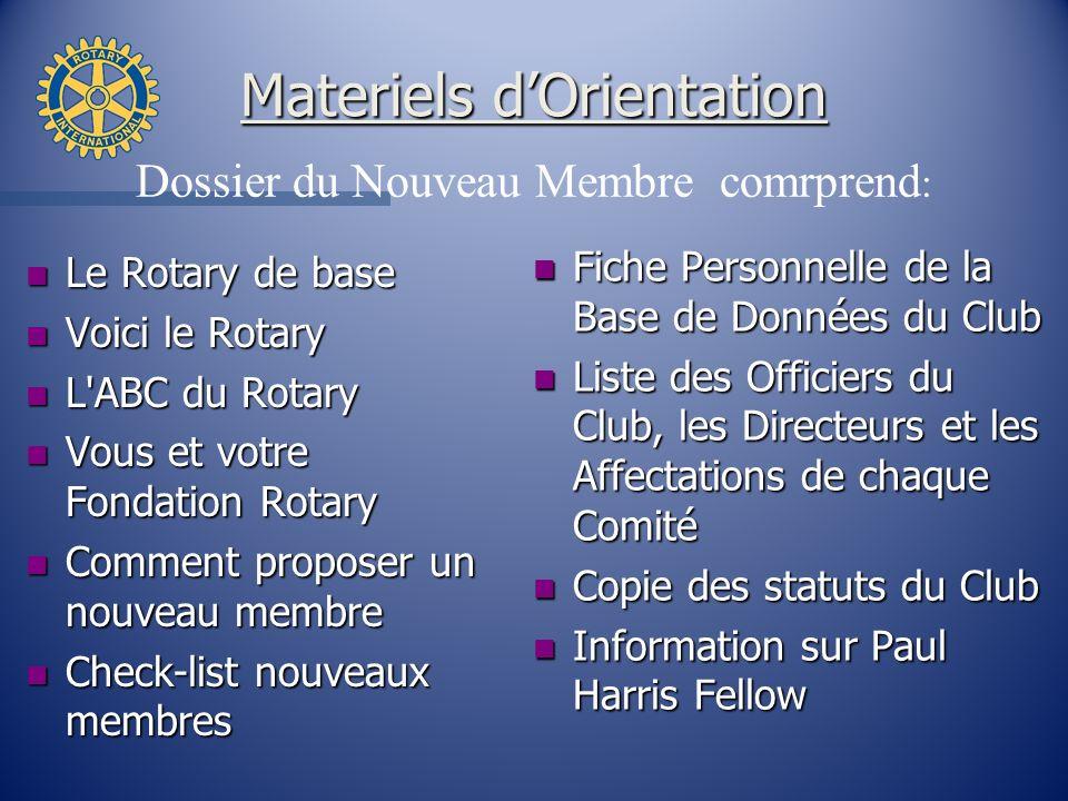 Materiels dOrientation n Le Rotary de base n Voici le Rotary n L'ABC du Rotary n Vous et votre Fondation Rotary n Comment proposer un nouveau membre n