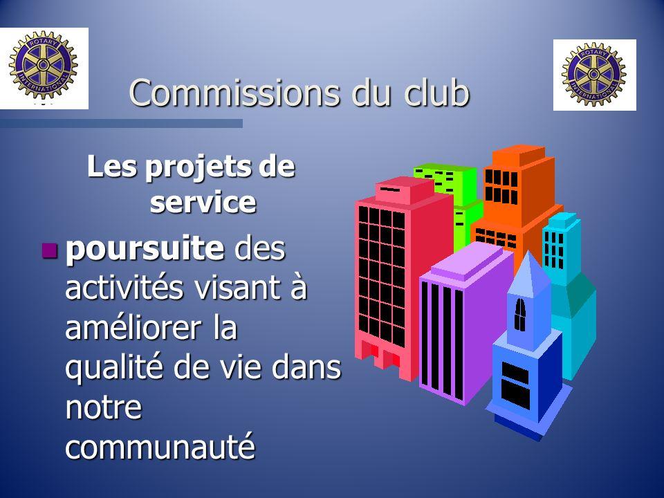 Les projets de service n poursuite des activités visant à améliorer la qualité de vie dans notre communauté Commissions du club