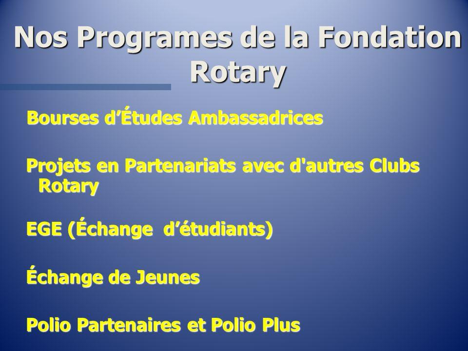 Nos Programes de la Fondation Rotary Bourses dÉtudes Ambassadrices Bourses dÉtudes Ambassadrices Projets en Partenariats avec d'autres Clubs Rotary Pr