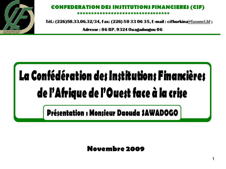 Plan Introduction I.Présentation de la CIF II.Causes de la crise financière III.Impact de la crise financière au sein du mouvement (CIF) IV.Comment la CIF a su résister à la crise .