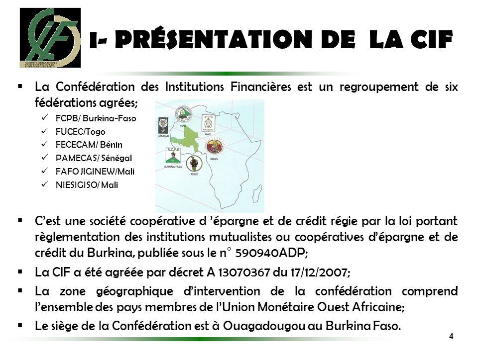 La Confédération des Institutions Financières est un regroupement de six fédérations agrées; FCPB/ Burkina-Faso FUCEC/Togo FECECAM/ Bénin PAMECAS/ Sén