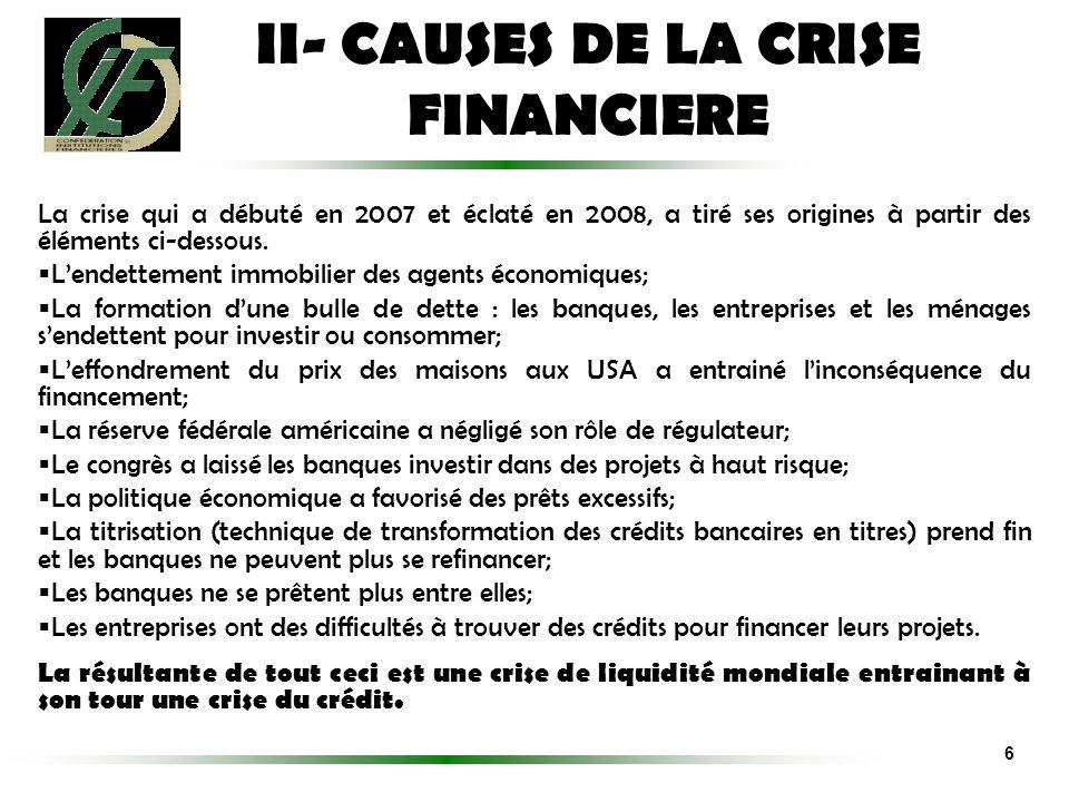 La crise qui a débuté en 2007 et éclaté en 2008, a tiré ses origines à partir des éléments ci-dessous. Lendettement immobilier des agents économiques;