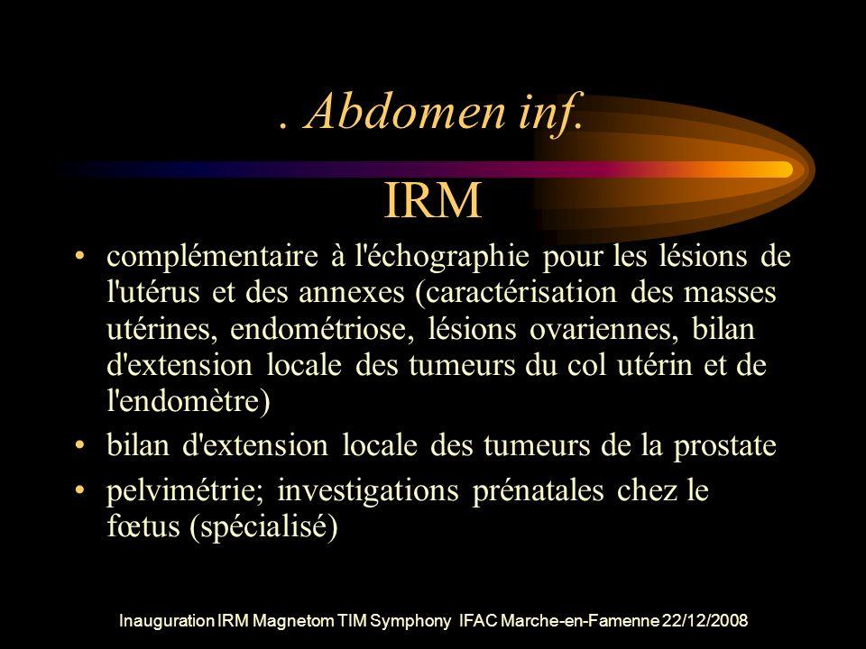 Inauguration IRM Magnetom TIM Symphony IFAC Marche-en-Famenne 22/12/2008. Abdomen inf. IRM complémentaire à l'échographie pour les lésions de l'utérus