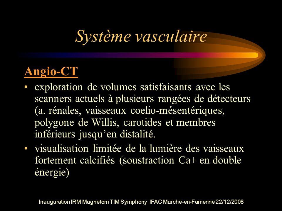 Inauguration IRM Magnetom TIM Symphony IFAC Marche-en-Famenne 22/12/2008 Système vasculaire Angio-CT exploration de volumes satisfaisants avec les sca