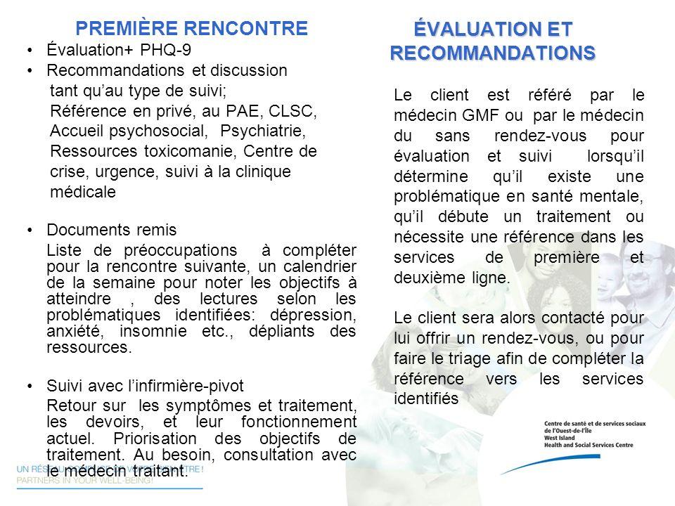 ÉVALUATION ET RECOMMANDATIONS Le client est référé par le médecin GMF ou par le médecin du sans rendez-vous pour évaluation et suivi lorsquil détermin