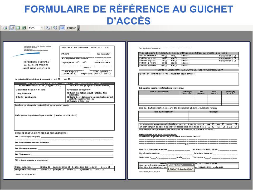 FORMULAIRE DE RÉFÉRENCE AU GUICHET DACCÈS