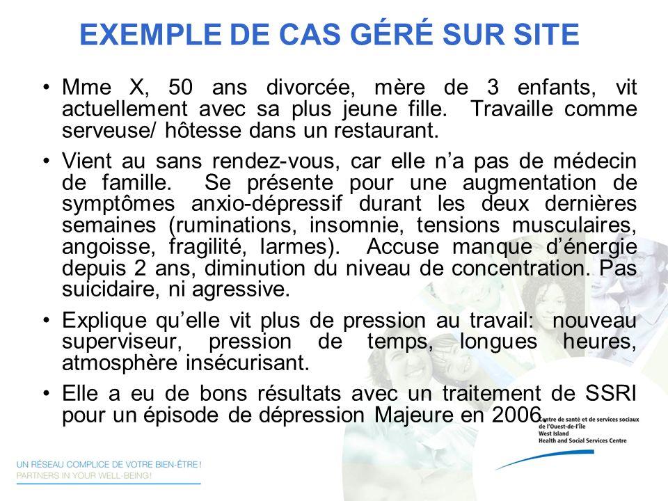 EXEMPLE DE CAS GÉRÉ SUR SITE Mme X, 50 ans divorcée, mère de 3 enfants, vit actuellement avec sa plus jeune fille. Travaille comme serveuse/ hôtesse d
