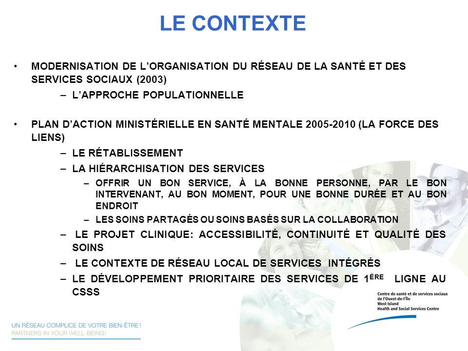 LE CONTEXTE MODERNISATION DE LORGANISATION DU RÉSEAU DE LA SANTÉ ET DES SERVICES SOCIAUX (2003) –LAPPROCHE POPULATIONNELLE PLAN DACTION MINISTÉRIELLE