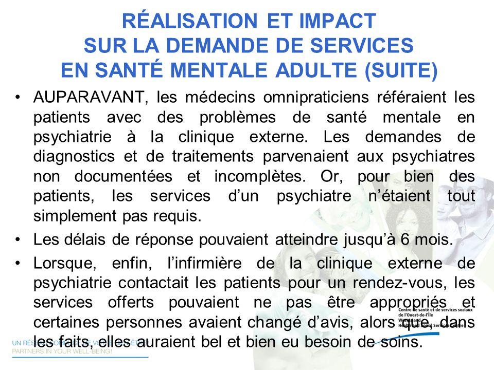 RÉALISATION ET IMPACT SUR LA DEMANDE DE SERVICES EN SANTÉ MENTALE ADULTE (SUITE) AUPARAVANT, les médecins omnipraticiens référaient les patients avec
