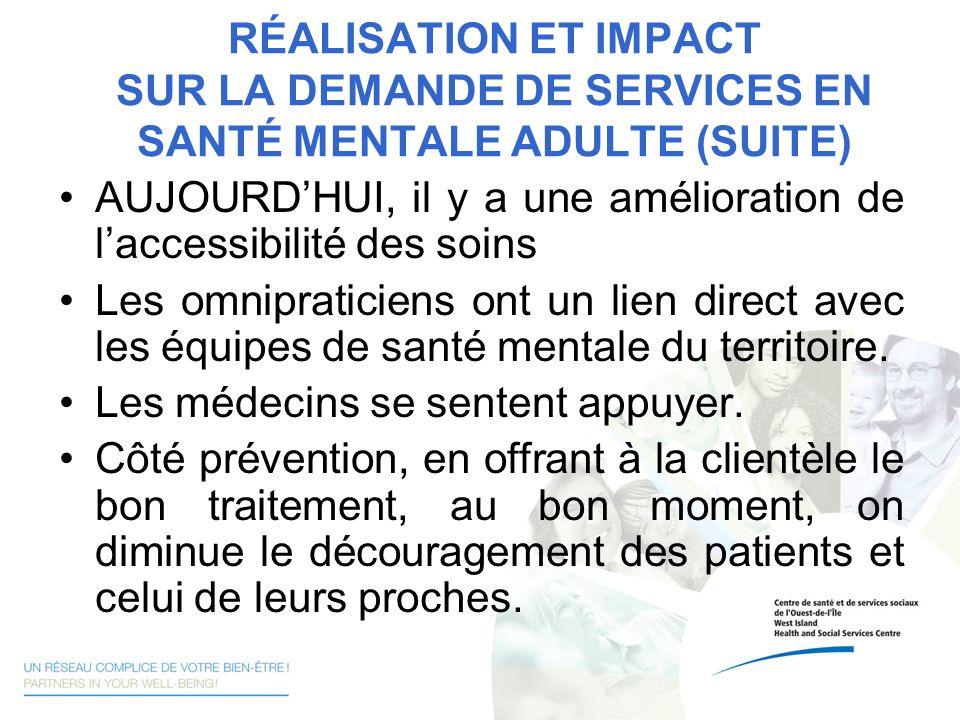 RÉALISATION ET IMPACT SUR LA DEMANDE DE SERVICES EN SANTÉ MENTALE ADULTE (SUITE) AUJOURDHUI, il y a une amélioration de laccessibilité des soins Les o
