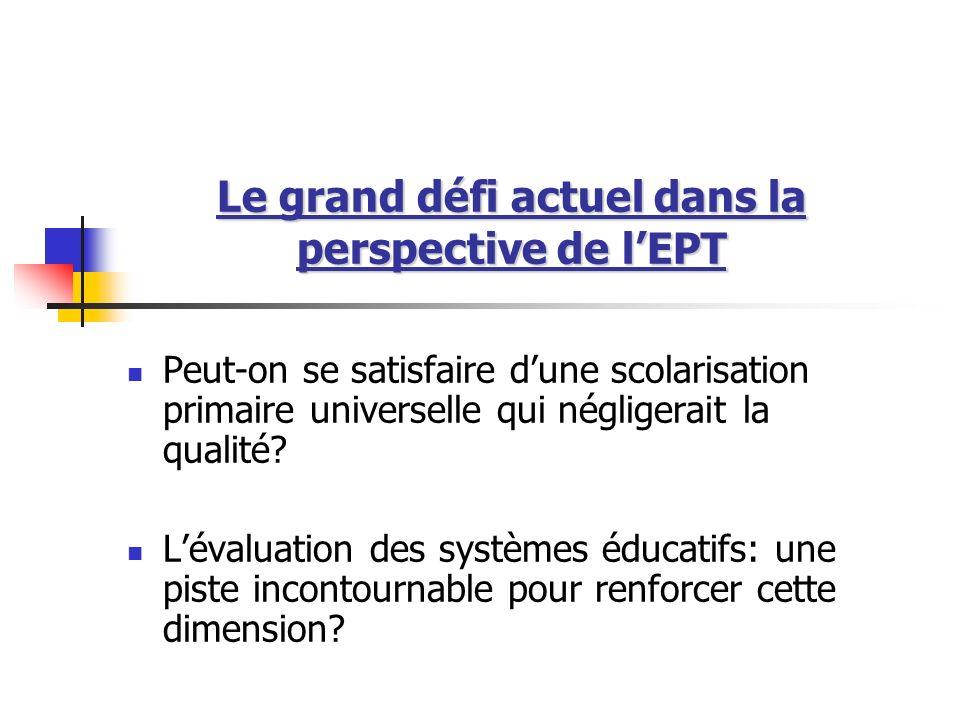 Le grand défi actuel dans la perspective de lEPT Peut-on se satisfaire dune scolarisation primaire universelle qui négligerait la qualité? Lévaluation