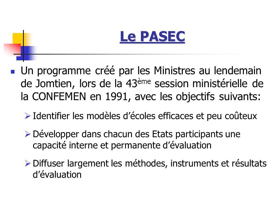 Le PASEC Un programme créé par les Ministres au lendemain de Jomtien, lors de la 43 ème session ministérielle de la CONFEMEN en 1991, avec les objecti