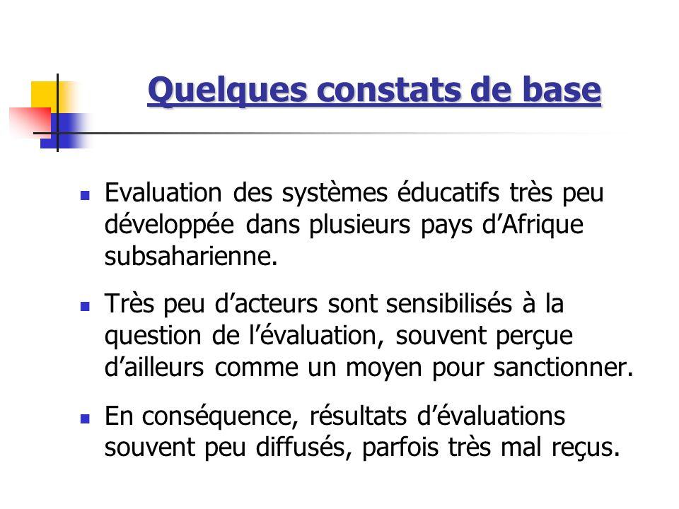 Quelques constats de base Evaluation des systèmes éducatifs très peu développée dans plusieurs pays dAfrique subsaharienne. Très peu dacteurs sont sen