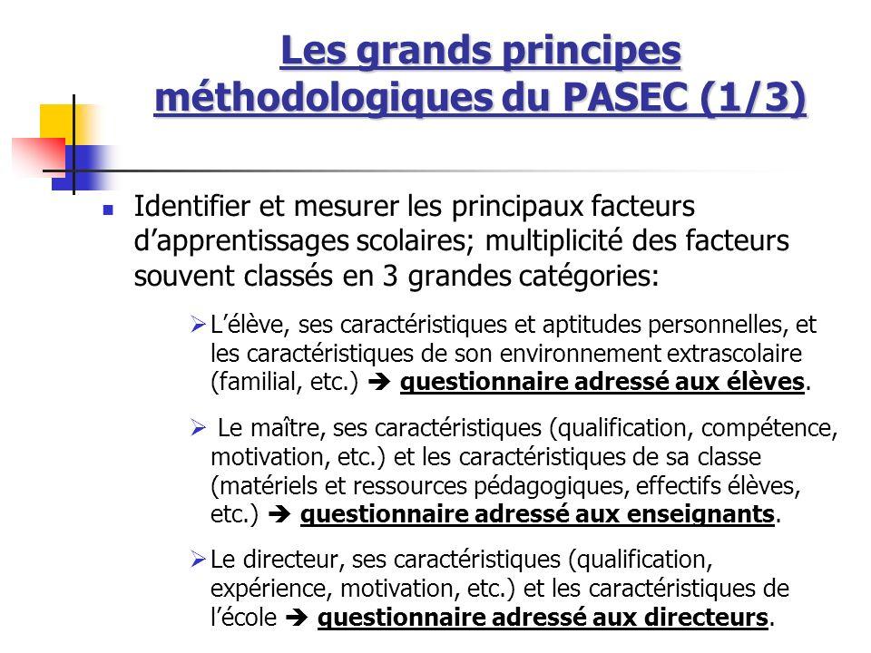 Les grands principes méthodologiques du PASEC (1/3) Identifier et mesurer les principaux facteurs dapprentissages scolaires; multiplicité des facteurs