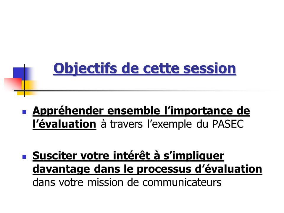 Objectifs de cette session Appréhender ensemble limportance de lévaluation à travers lexemple du PASEC Susciter votre intérêt à simpliquer davantage d